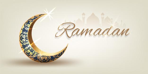Рамадан карим с золотым богато украшенным полумесяцем и исламской линией купол мечети с классическим рисунком с фонарями