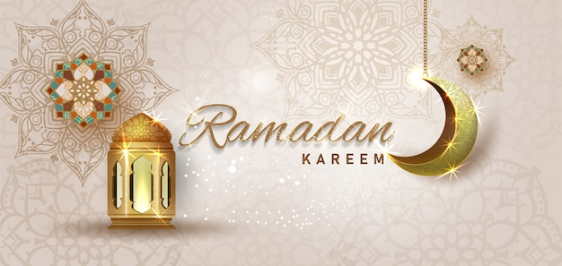 Ramadan kareem with golden ornate crescent and islamic line mosque