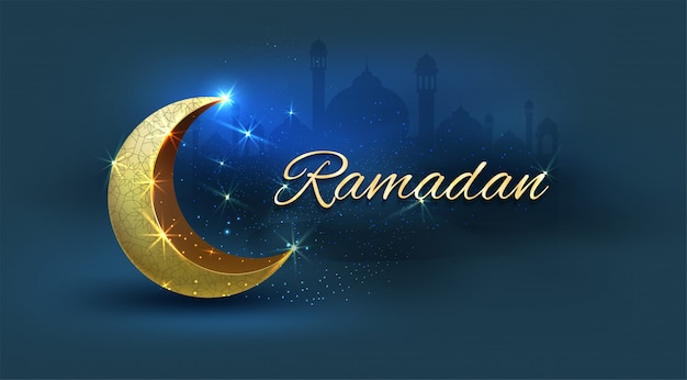 Ramadan kareem with golden ornate crescent moon, background
