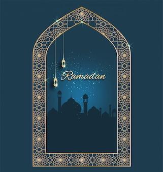 Ramadan kareem with golden ornate crescent with windows