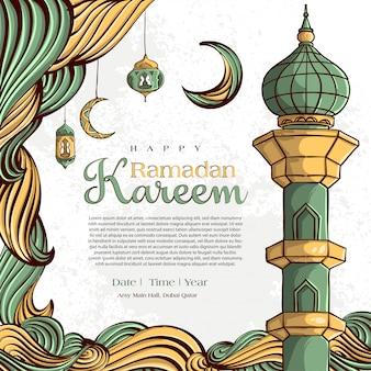 手でラマダンカリーム描画白グランジ背景にイスラムイラスト飾り