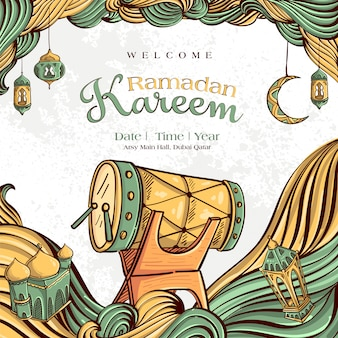 Ramadan kareem with hand drawn islamic illustration ornament on white grunge background