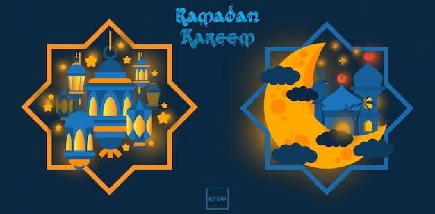 Ramadan kareem with islamic badges illustration image.