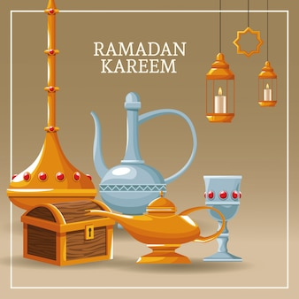 Ramadan kareem with islamic symbols