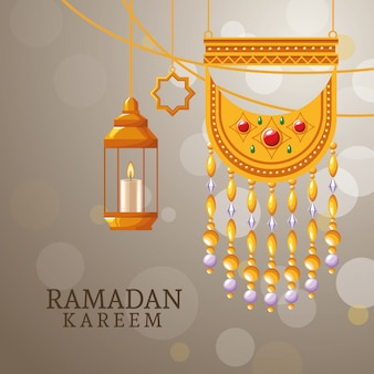 Ramadan kareem with islamic symbols