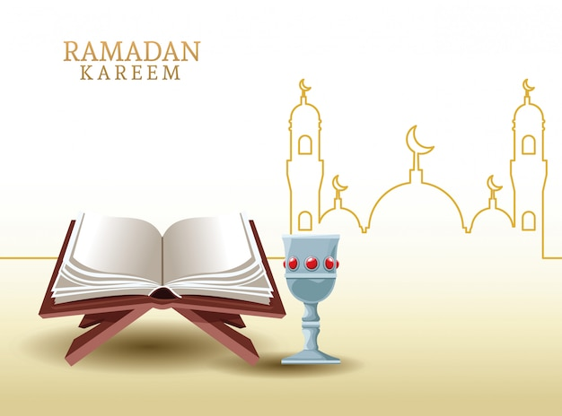 Ramadan kareem with koran and mosque shape