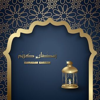 Ramadan kareem with lantern islamic background