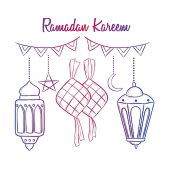 Ramadan kareem with lantern and ketupat using doodle style