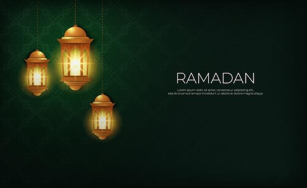 Ramadan kareem with lights gold