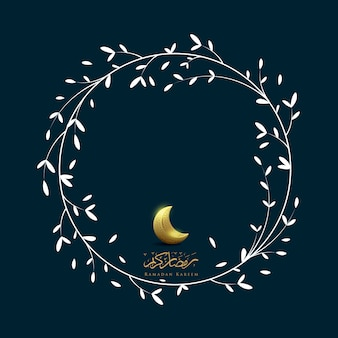 Ramadan kareem with moon and flower frame