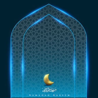 Ramadan kareem with moon gate light background