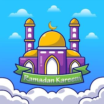 Рамадан карим с мечетью и плоской иллюстрацией луны