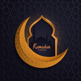 Ramadan kareem with mosque golden moon islamic