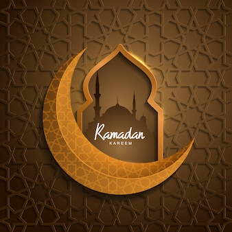 Ramadan kareem with mosque golden moon islamic