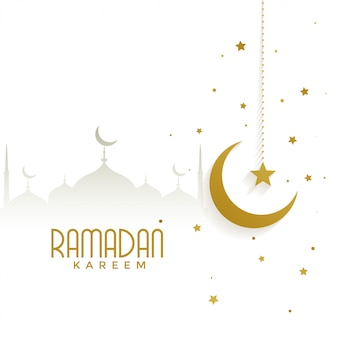 Ramadan kareem with mosque and golden moon
