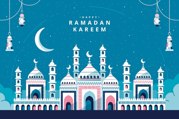 Ramadan kareem with mosque greeting card