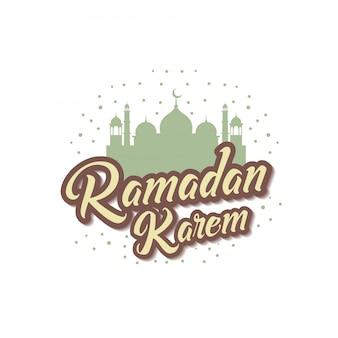 Ramadan kareem with mosque lettering typography