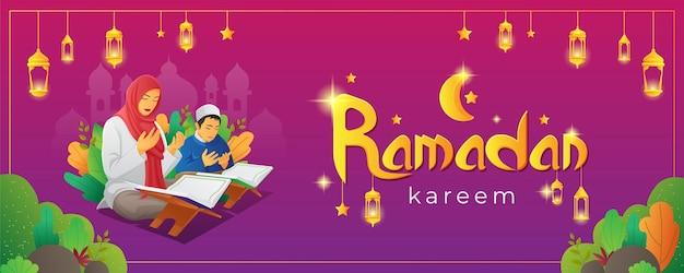 Ramadan kareem with praying people while reading quran