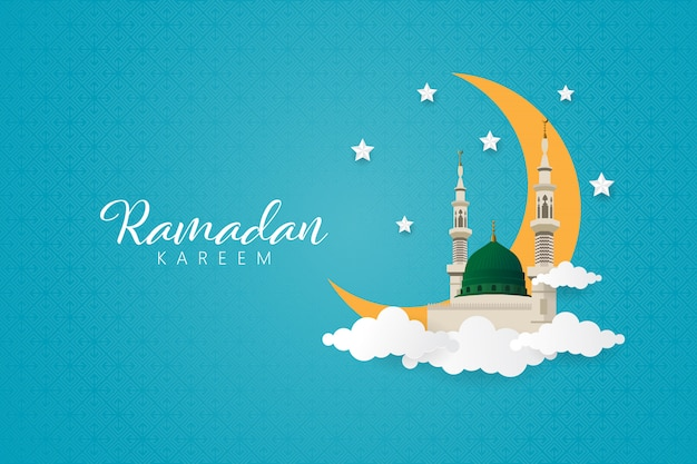 Ramadan kareem with prophet muhammad mosque, nabawi mosque.