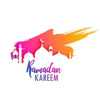 Дизайн ramadan kareem с красочным брызгом краски
