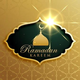 Дизайн праздничного приветствия ramadan kareem в премиум-стиле