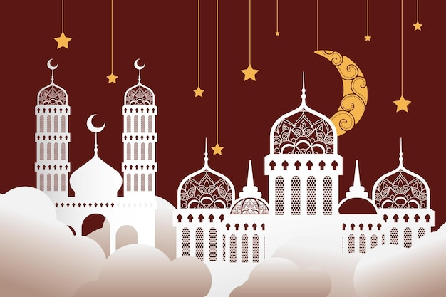 Рамадан карин празднование мечетей с золотыми звездами и луной висящий дизайн иллюстрации