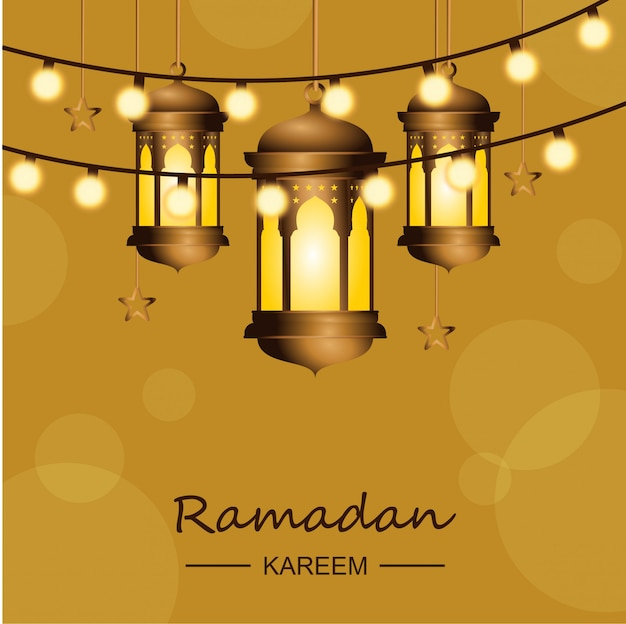 Ramadan karem background with lights and lanterns
