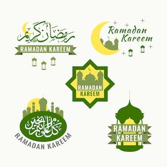 Рамадан коллекция этикеток Бесплатные векторы