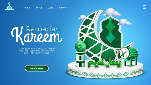 Ramadan landing page with three dimension concept