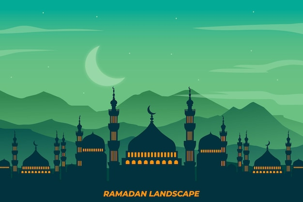 Ramadan landscape flat mosque landscape night green sky