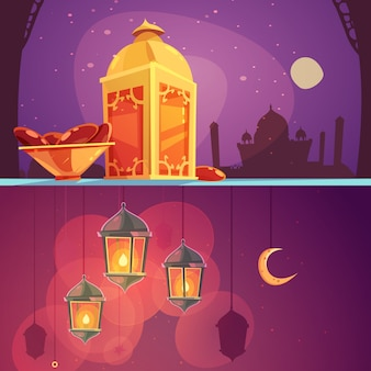 Ramadan lanterns cartoon banner set
