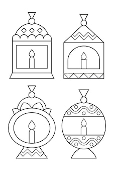 Ramadan lanterns coloring page activity