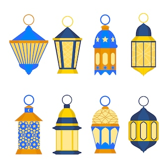 Ramadan lanterns set. eastern religious tradition.