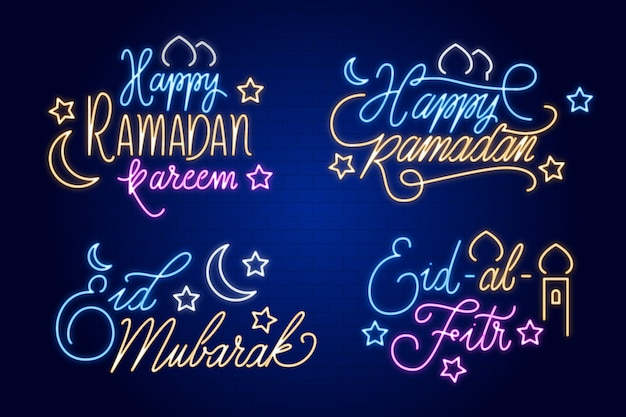 Ramadan lettering neon sign collection theme