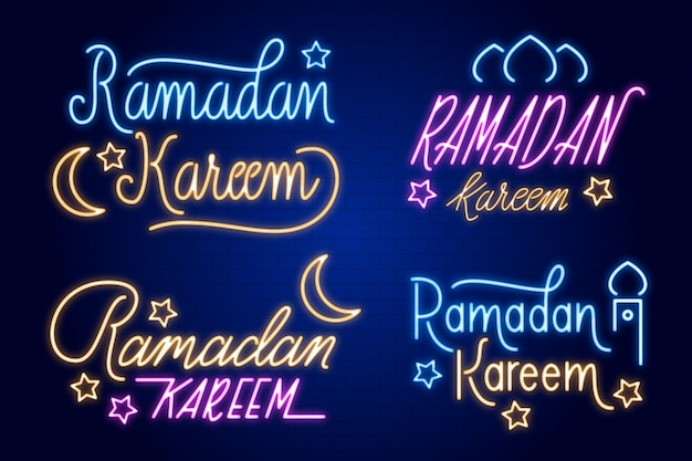 Ramadan lettering neon sign collection