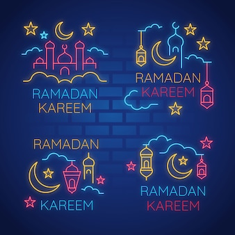 Ramadan lettering neon sign concept