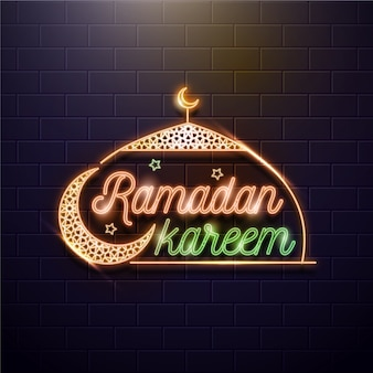 Ramadan lettering neon sign with moon