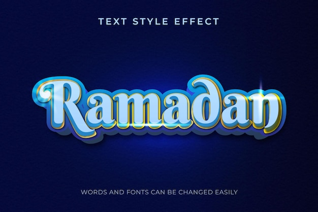 Ramadan luxury blue and gold editable text style effect