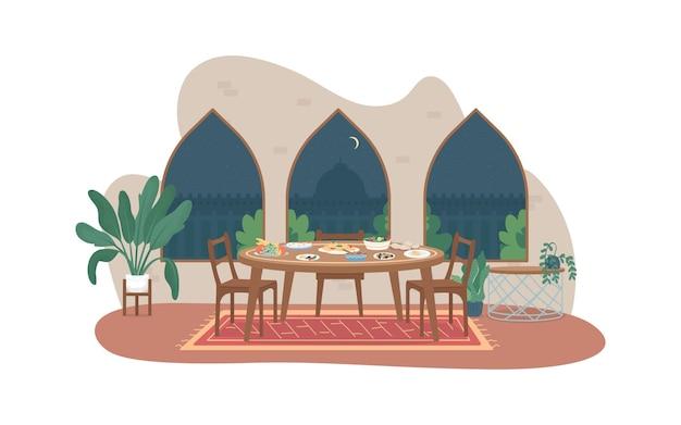 Рамадан еда веб-баннер, плакат. семейный ужин. ифтар, пост рамазан. традиционный индийский домашний плоский интерьер на фоне мультфильмов. арабская культура