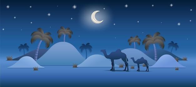 Ramadan mubarak background realistic desert palm tree concept