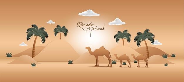 ラマダンムバラク背景現実的な表彰台砂漠ヤシの木表彰台イラストコンセプト2