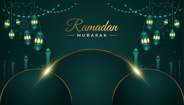 라마단 무바라크 배경, 모스크와 초롱 고급스러운 녹색 종이 컷
