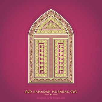 Ramadan mubarak card with an ornamental window