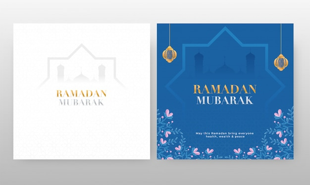 Ramadan mubarak cards with hanging lanterns and mosque silhouette on blue and white background.