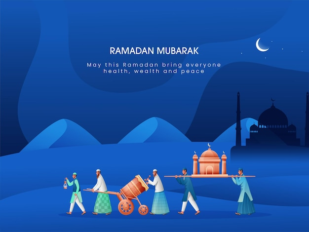 Ramadan mubarak celebration concept with muslim people holding mosque
