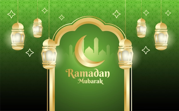 Ramadan mubarak celebration design with gold details