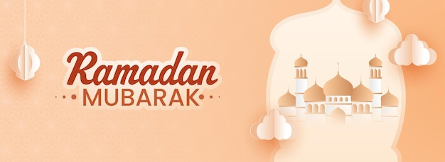 Ramadan mubarak concept with mosque illustration, paper cut lanterns hang and clouds on orange background.