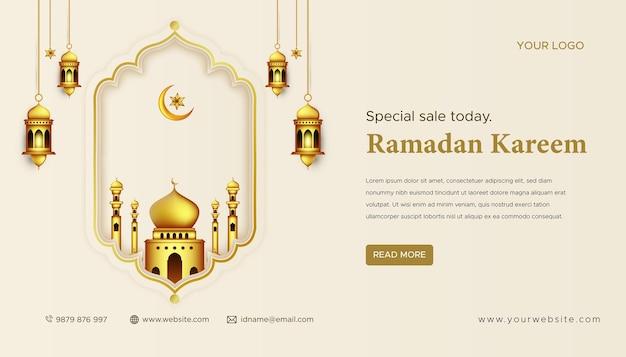 Ramadan mubarak decoration gold arabic lantern festival