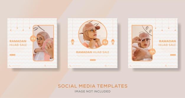 Ramadan mubarak fashion sale post for hijab islamic banner template