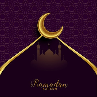 Рамадан мубарак фестивальная открытка с золотой луной
